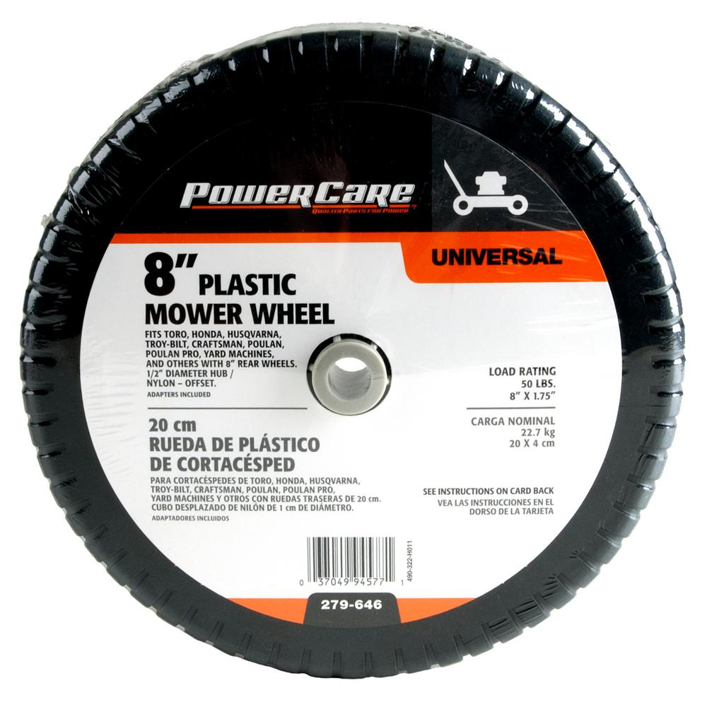 Powercare 8 in. x 1.75 in. Universal Plastic Wheel for Lawn Mowers