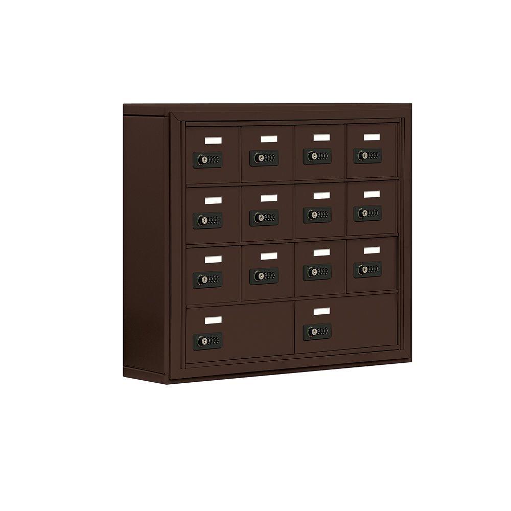 19000 Series 30.5 in. W x 25.5 in. H x 6.25 in. D 12 A/2 B Doors S-Mount Resettable Locks Cell Phone Locker in Bronze