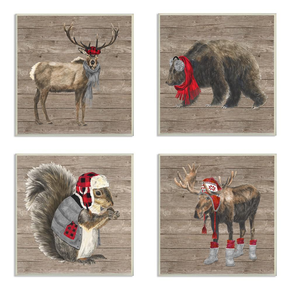 4pc Each 12 In X 12 In Wilderness Cold Stylish Animals In Buffalo Plaid By Tara Reed Wood Wall Art