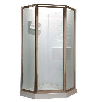 Prestige 24 in. x 68-1/2 in. Framed Neo-Angle Hinged Shower Door in Brushed Nickel without handle