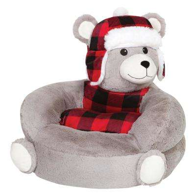 Gray, Red, Black Children's Plush Buffalo Check Bear Character Chair