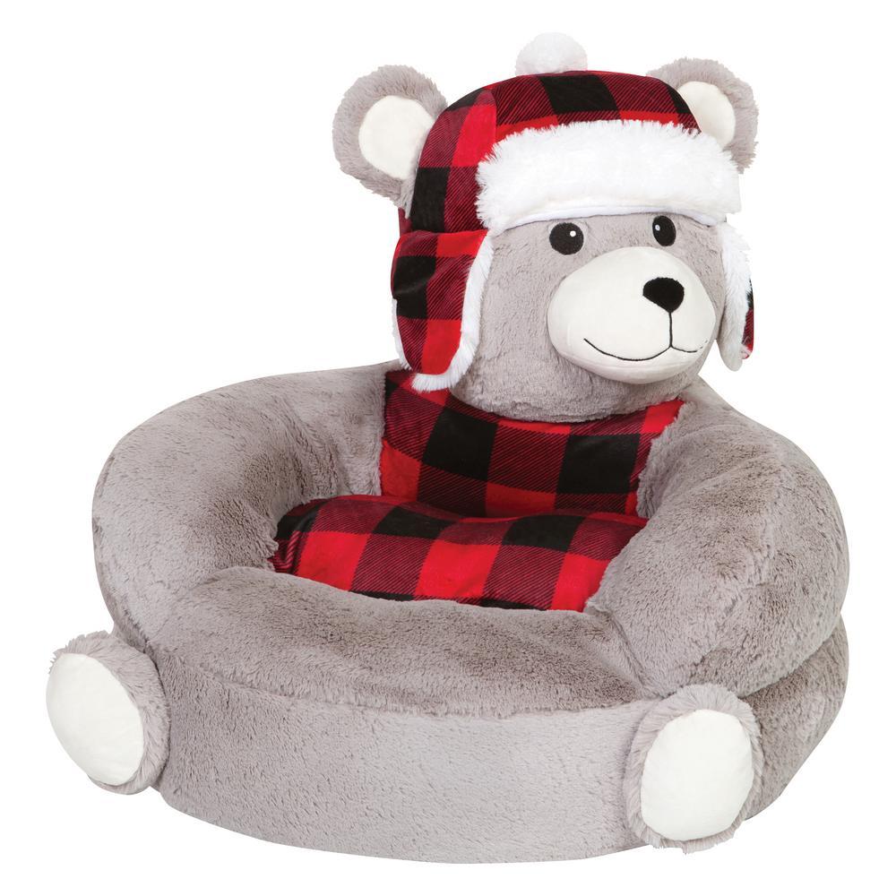 Gray, Red, Black Children's Plush Buffalo Check Bear Character Chair
