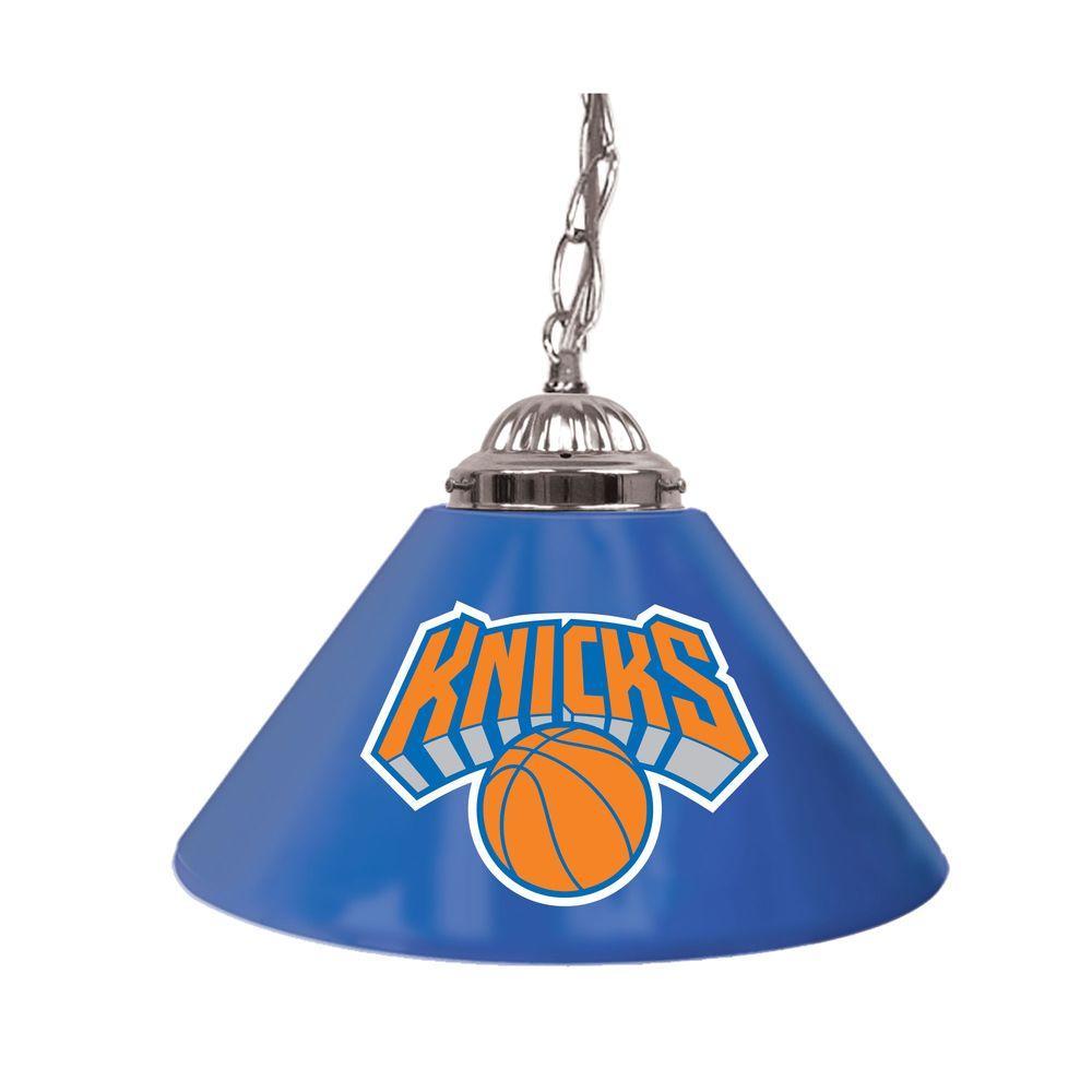 Trademark New York Knicks NBA 14 in. Single Shade Stainless Steel Hanging Lamp