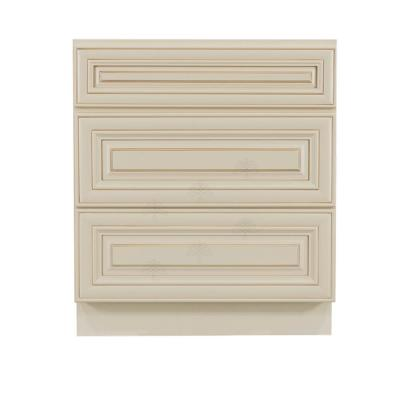 Princeton Assembled 21 in. x 21 in. x 33 in. Bath Vanity Cabinet Only with 3-Drawers in Creamy White Glazed