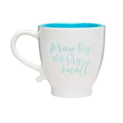 Worry Small 20 oz. White-Teal Ceramic Coffee Mug