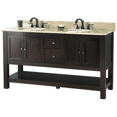Gazette 61 in. W x 22 in. D Double Bath Vanity in Espresso with Golden Hill Granite Vanity Top
