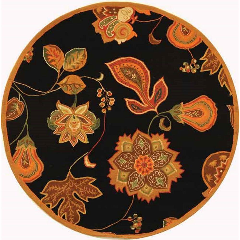 Safavieh Chelsea Black Orange 6 Ft X Round Area Rug