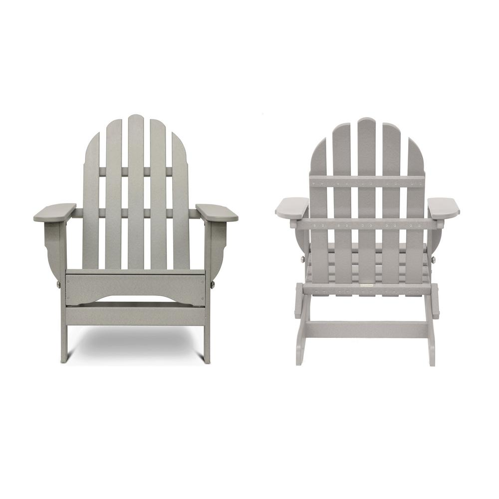 Icon Light Gray Recycled Plastic Folding Adirondack Chair (2-Pack)