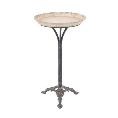 Distressed White Accent Table with Black Scroll Legs