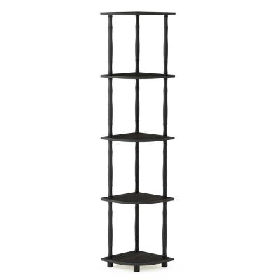 57.7 in. Espresso/Black Plastic 5-shelf Corner Bookcase with Open Storage