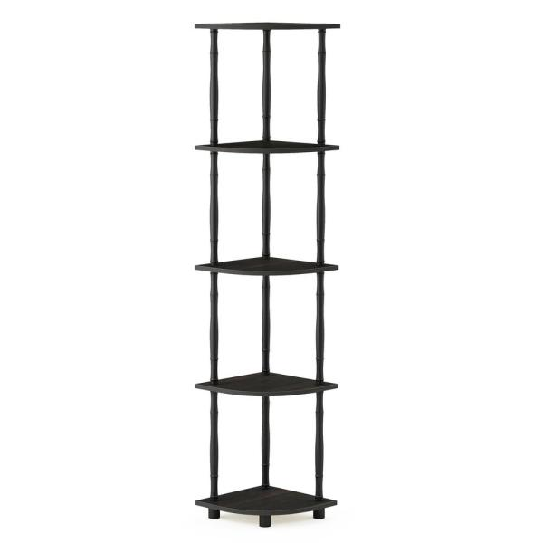 Furinno Turn-N-Tube Espresso/Black 5-Tier Corner Display Rack Multipurpose
