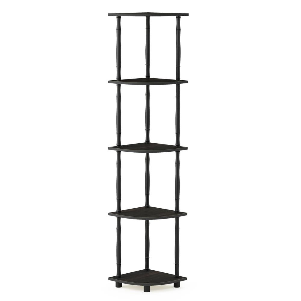 Turn-N-Tube Espresso/Black 5-Tier Corner Display Rack Multipurpose Shelving Unit