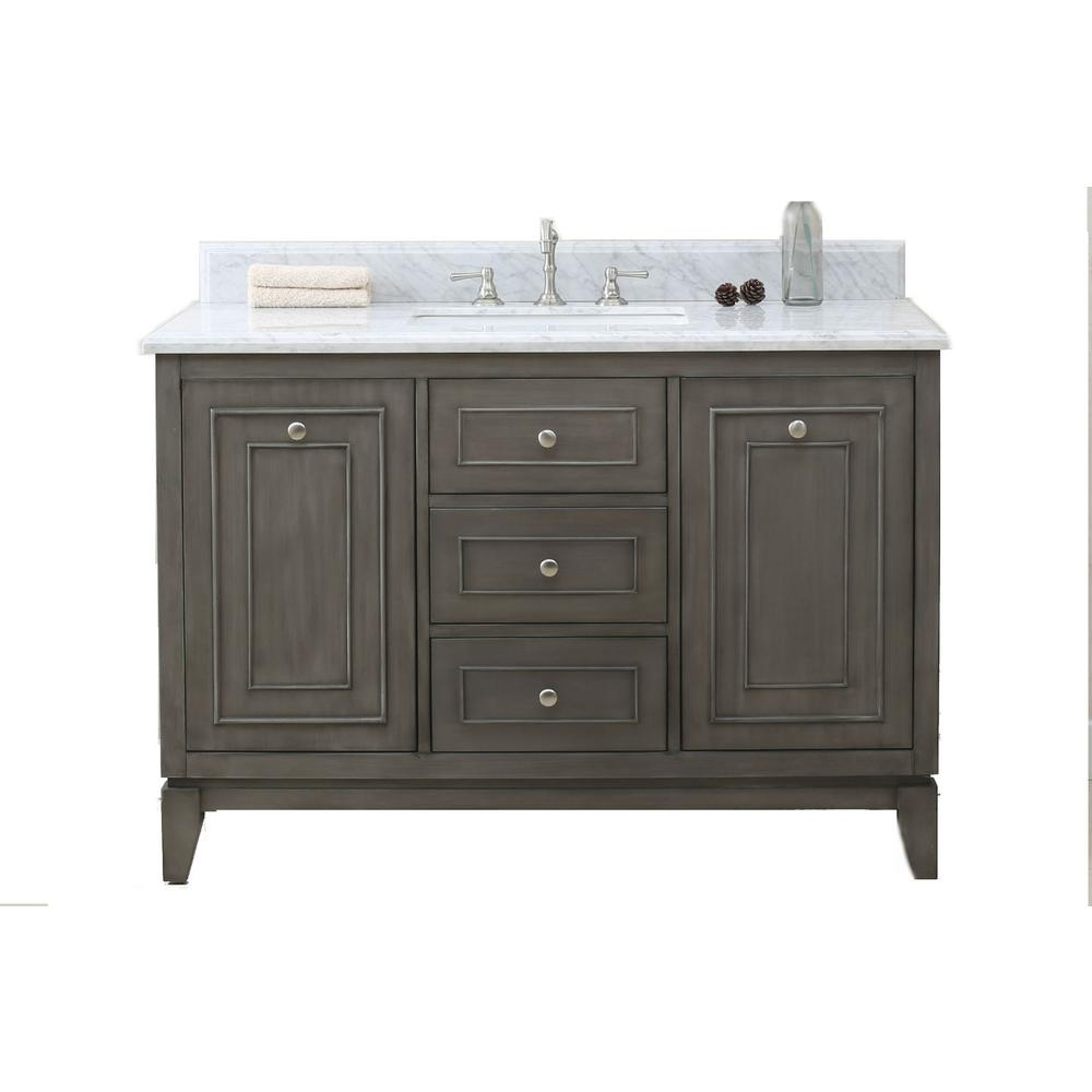 49 in. Vanity in Silver Gray with Marble Vanity Top in Carrary White with White Basin