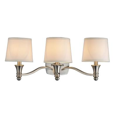Towne 3-Light Brushed Nickel Vanity Light with White Fabric Shades