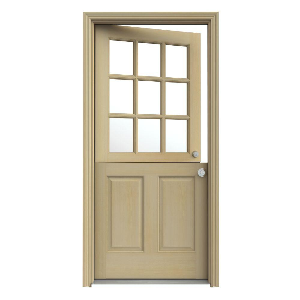 JELD-WEN 36 in. x 80 in. 9 Lite Unfinished Dutch Fir Wood Prehung Front Door with Brickmould