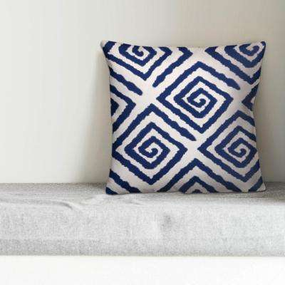 Blue and White Geo Spiral Decorative Pillow