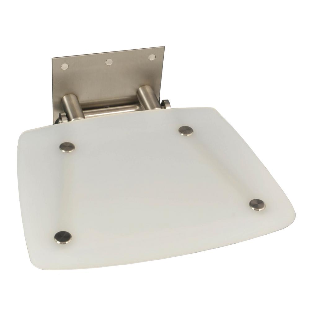 Modern Square 15-3/8 in. x 11-1/4 in. Fold-up Shower Seat in Frosted ...