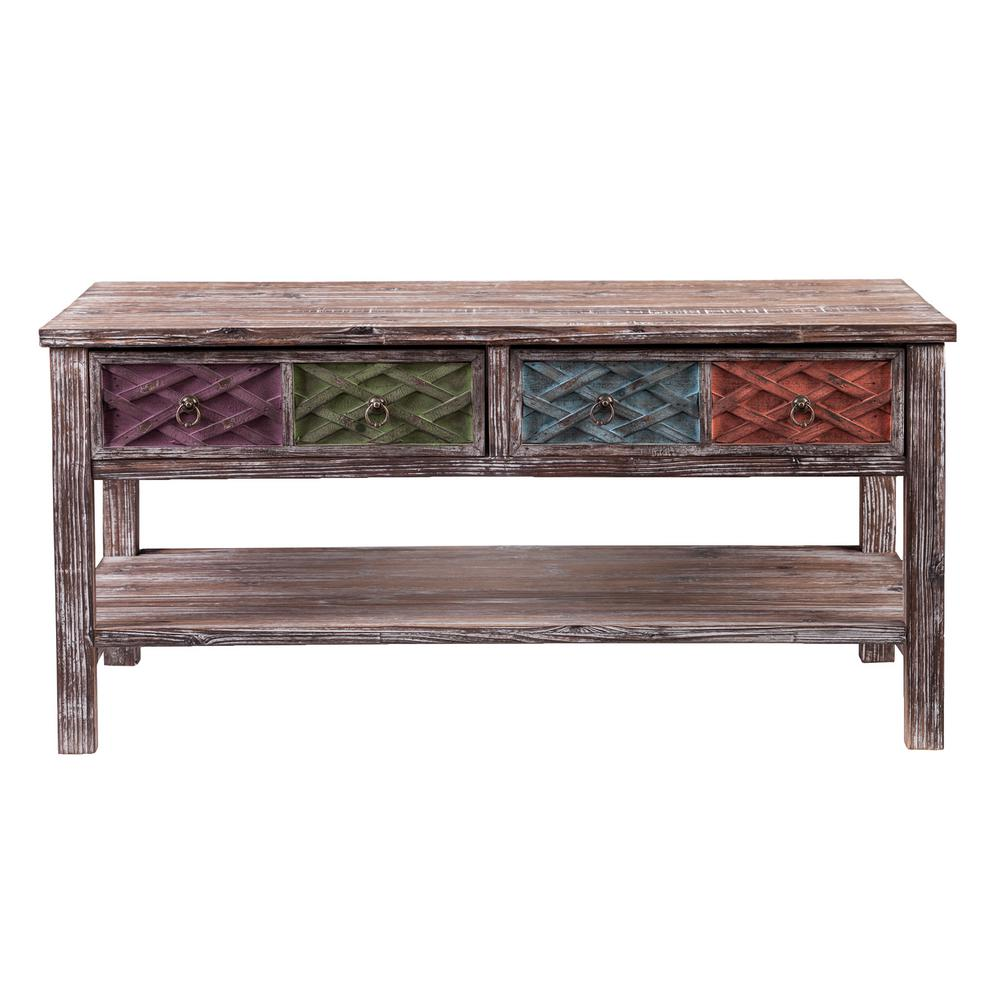 Southern enterprises erie multi colored storage coffee table