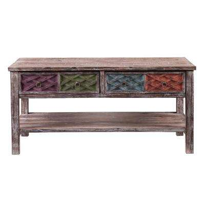 Erie Multi-Colored Storage Coffee Table