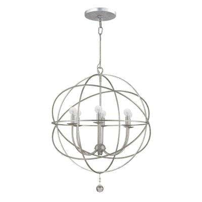 Solaris Collection 6-Light Olde Silver Orb Chandelier