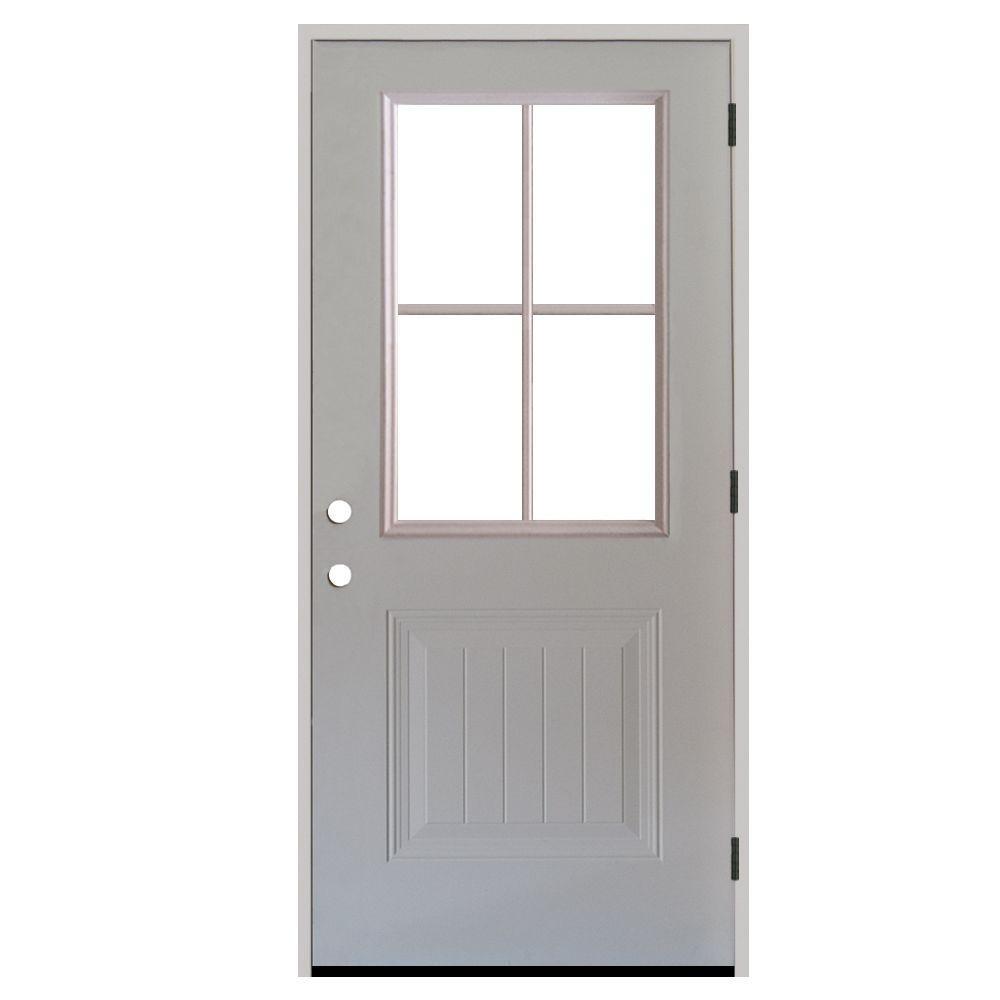 Nice Premium 4 Lite Plank Panel Primed White Steel Prehung Front Door