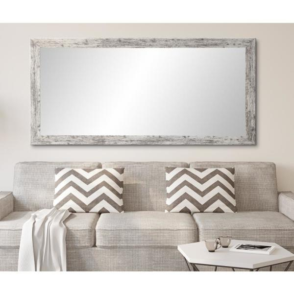 Oversized Distressed White/Gray Composite Hooks Farmhouse Rustic Mirror (71 in. H X 32 in. W)