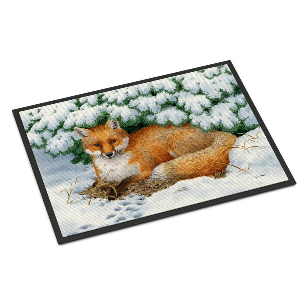18 in. x 27 in. Indoor/Outdoor Winter Fox Door Mat