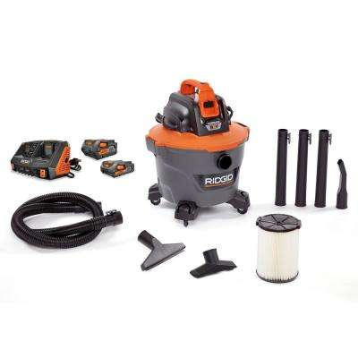 9 Gal. Cordless Wet/Dry Shop Vacuum with 18-Volt Dual Port Sequential Charger, one 4.0 Ah Battery and one 2.0 Ah Battery
