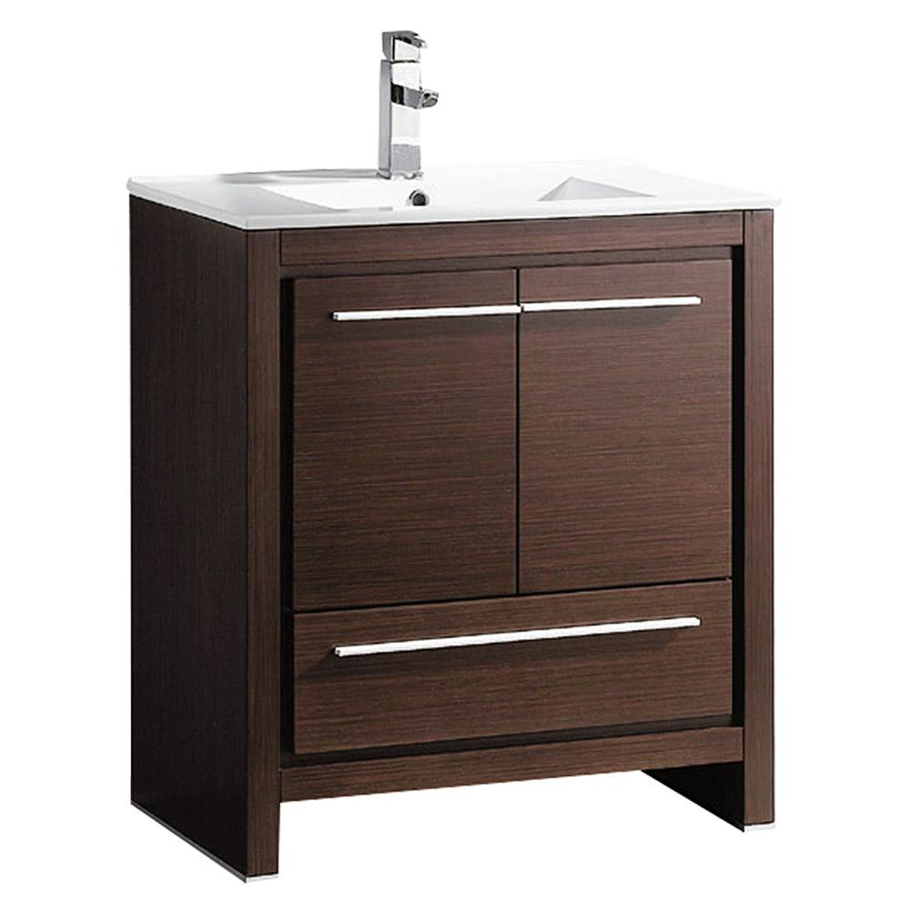 Allier 30 in. Bath Vanity in Wenge Brown with Ceramic Vanity