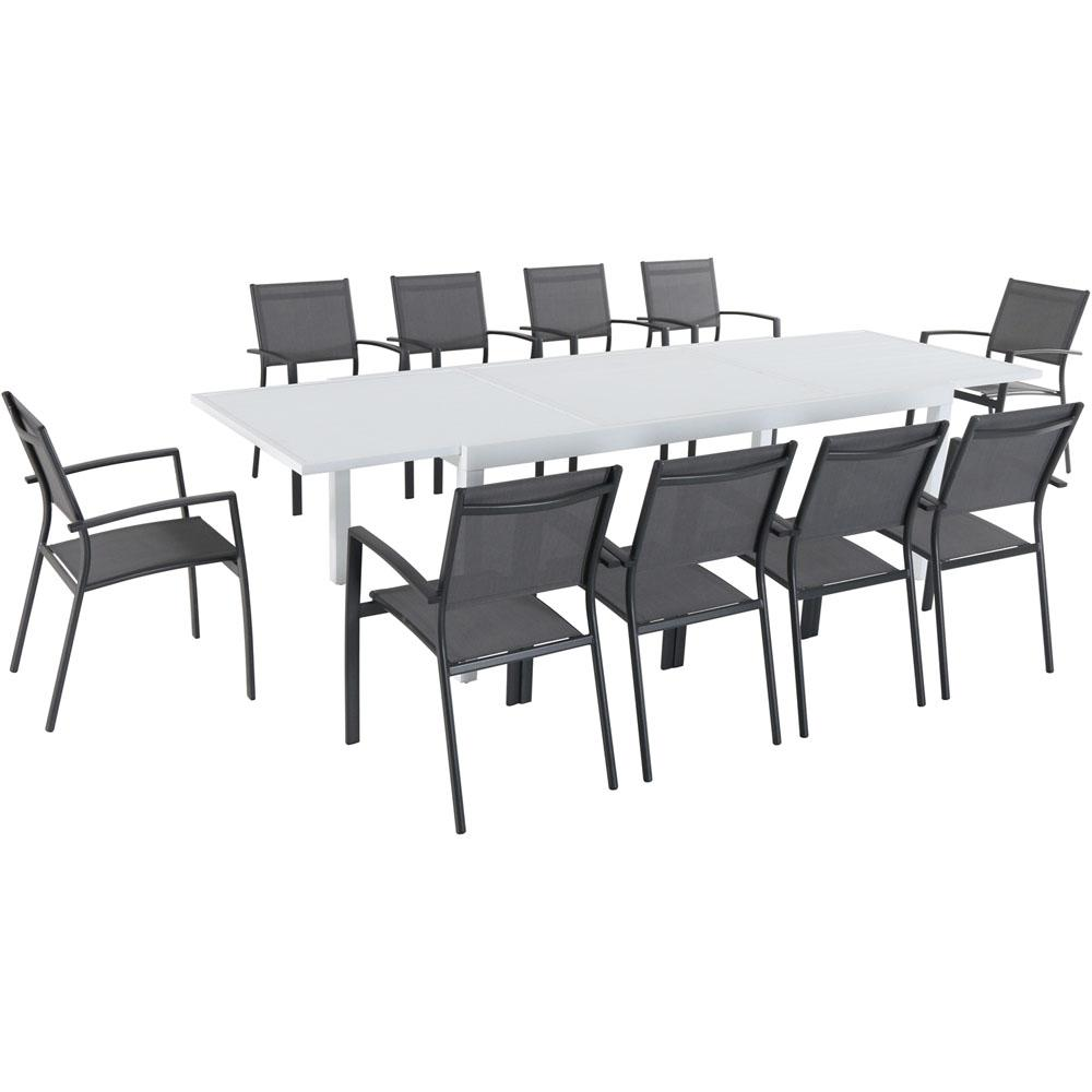 Hanover Del Mar 11 Piece Aluminum Outdoor Dining Set With 10 Sling