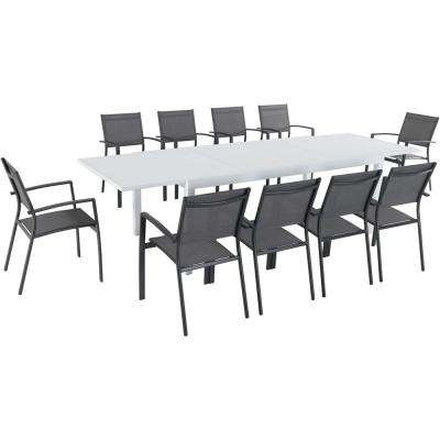 Del Mar 11-Piece Aluminum Outdoor Dining Set with 10 Sling Chairs in Gray and a 40 in. x 118 in. Expandable Dining Table