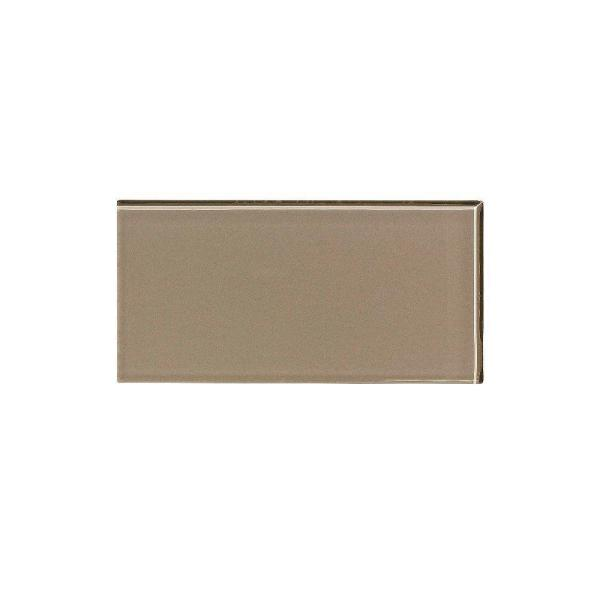3 in. x 6 in. Glass Decorative Wall Tile in Putty (8-Pack)