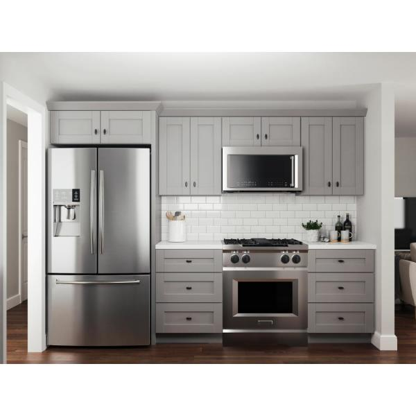 Unbranded Veiled Gray Shaker Assembled Plywood 23 25 In X 96 In X 0 25 In Kitchen Cabinet Tall Skin End Panel Tsk96 Xvg The Home Depot