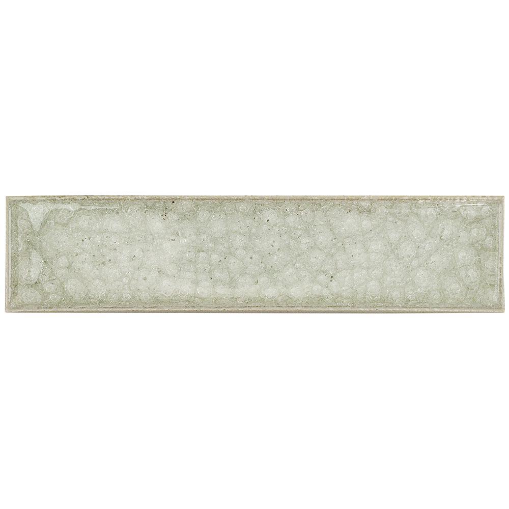 Roman Selection Iced Light Cream Glass Mosaic Tile - 2 in. x 8 in. Tile Sample