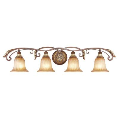 Providence 4-Light Verona Bronze Medium Wall Bath Vanity Light with Aged Gold Leaf Accents