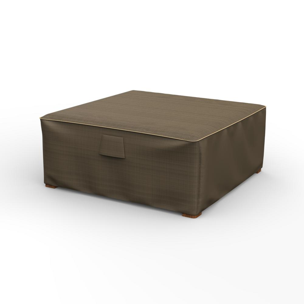 225 & Budge NeverWet Hillside Large Black and Tan Square Patio Table/Ottoman Cover