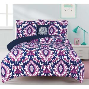 Calabria Damask 3-Piece Multi-Colored Twin Mini Comforter Set with Decorative Pillow by