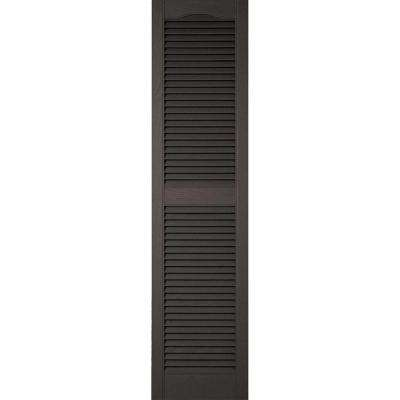 18 in. x 75 in. Lifetime Vinyl Custom Cathedral Top Center Mullion Open Louvered Shutters Pair Musket Brown