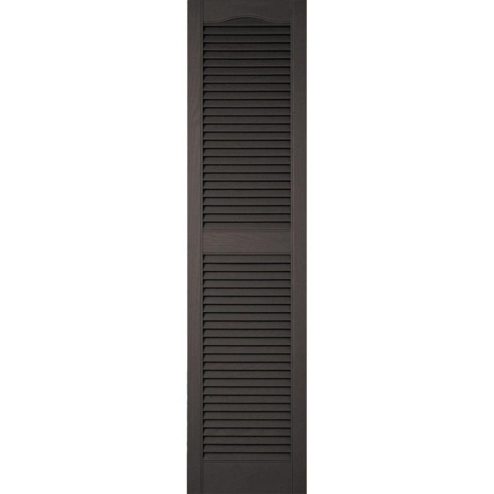 Ekena Millwork 18 in. x 68 in. Lifetime Vinyl Custom Cathedral Top Center Mullion Open Louvered Shutters Pair Musket Brown