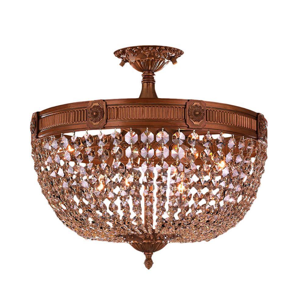 Worldwide Lighting Winchester 6 Light French Gold And Golden Teak Crystal Ceiling Semi Flush