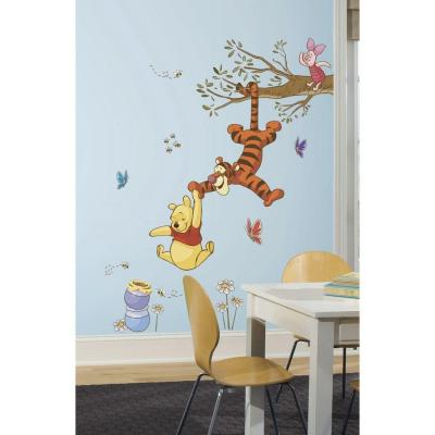 5 in. x 19 in. Winnie the Pooh Swinging for Honey Peel and Stick Giant Wall Decals