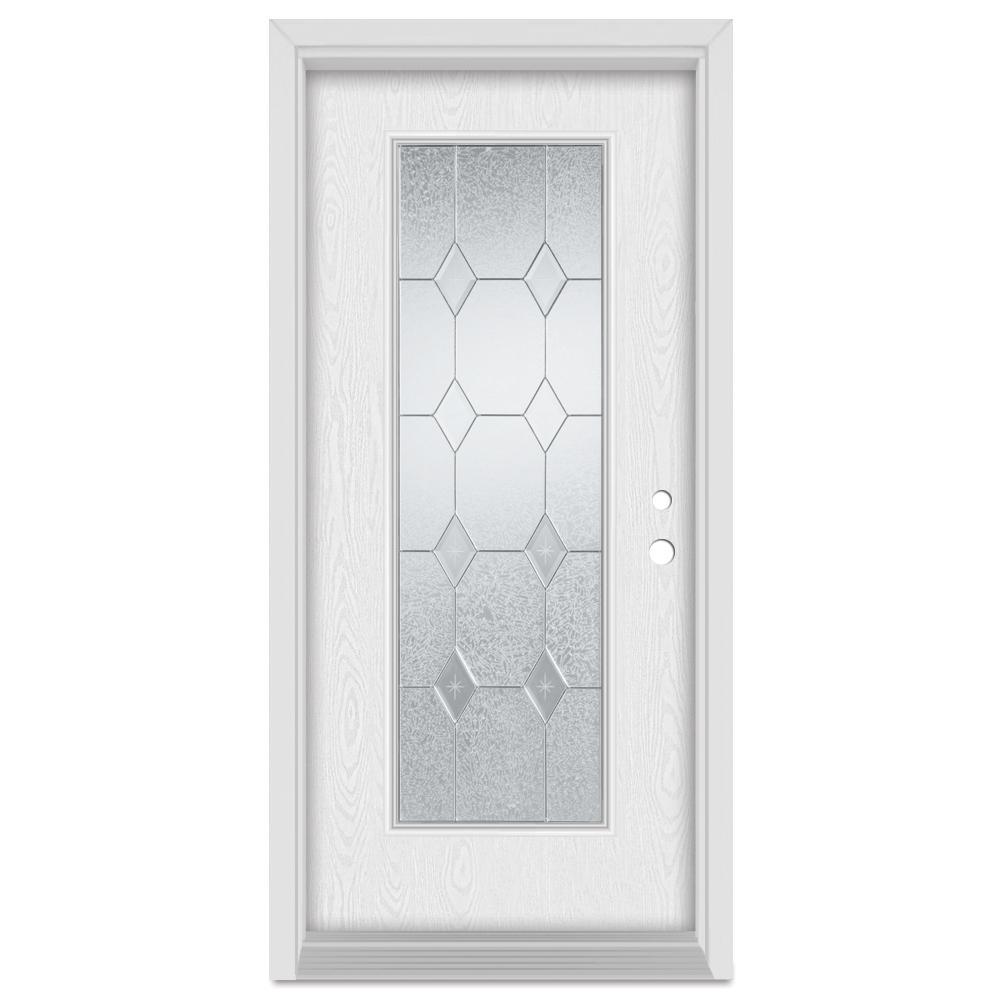 33.375 in. x 83 in. Geometric Left-Hand Full Lite Zinc Finished Fiberglass Oak Woodgrain Prehung Front Door Brickmould