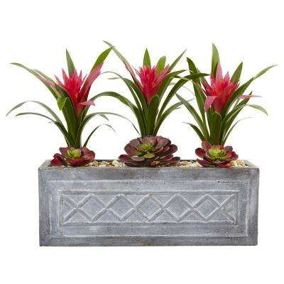 Indoor Ginger and Succulent Artificial Plant in Stone Planter