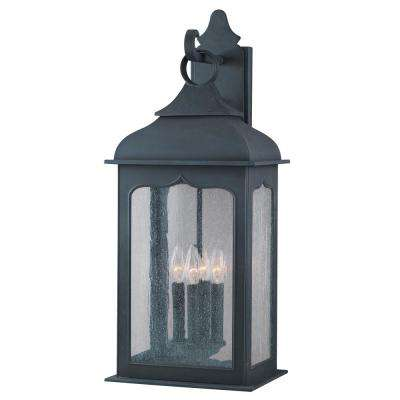 Henry Street 4-Light Colonial Iron Outdoor Wall Mount Lantern