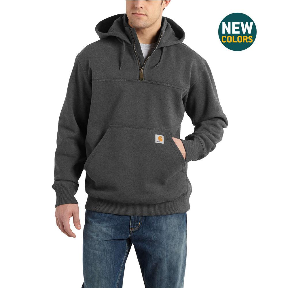 Carhartt Men's Tall Large Carbon Heather Cotton/Polyester Rain Defender Paxton Heavyweight Hooded Zip Mock Sweatshirt
