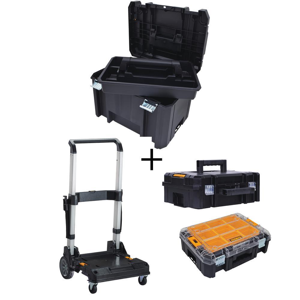 TSTAK VI 17 in. Tool Box, TSTAK II Tool Box, TSTAK V Organizer and Trolley Storage System Combo Set (4 Components)
