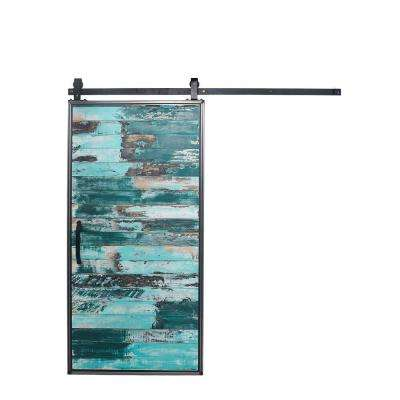 42 in. x 84 in. Mountain Modern Aqua Wood Barn Door with Mountain Modern Sliding Door Hardware Kit