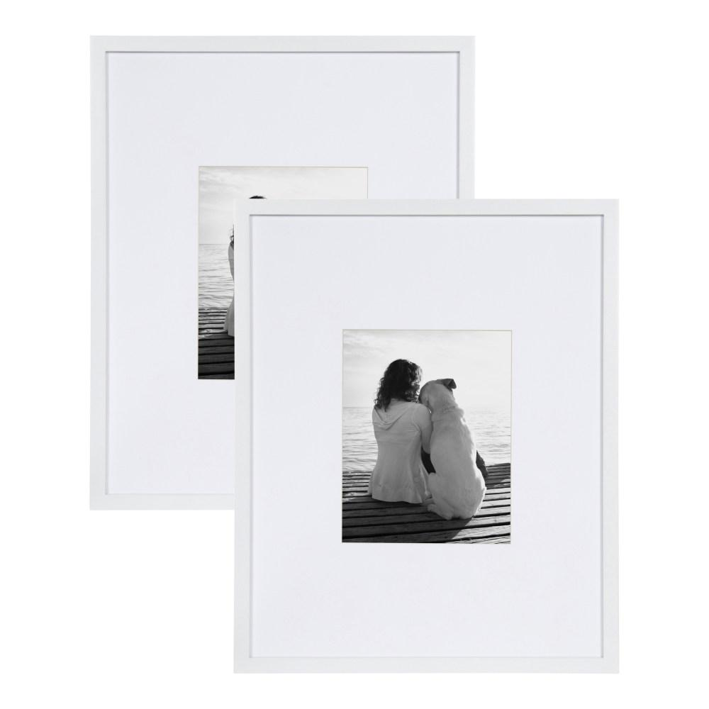 Gallery 16x20 matted to 8x10 White Picture Frame Set of 2