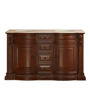60 in. W x 22 in. D Vanity in Brazilian Rosewood with Marble Vanity Top in Cream Marfil with White Basin