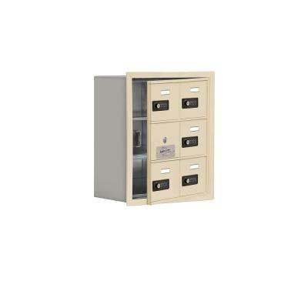 19100 Series 16.25 in. W x 18.75 in. H x 8.75 in. D 5 Doors Cell Phone Locker Recess Mount Resettable Lock in Sandstone